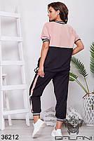 Прогулочный спортивный костюм с укороченными штанами на манжете и свободного кроя кофточка с 48 по 58 размер, фото 3