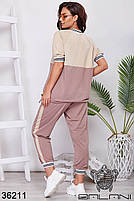 Прогулочный спортивный костюм с укороченными штанами на манжете и свободного кроя кофточка с 48 по 58 размер, фото 4
