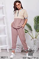 Прогулочный спортивный костюм с укороченными штанами на манжете и свободного кроя кофточка с 48 по 58 размер, фото 2