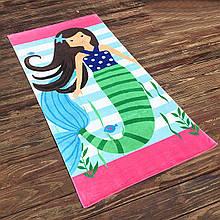 Махровое детское пляжное полотенце для девочки, покрывало, подстилка коврик с рисунком русалка