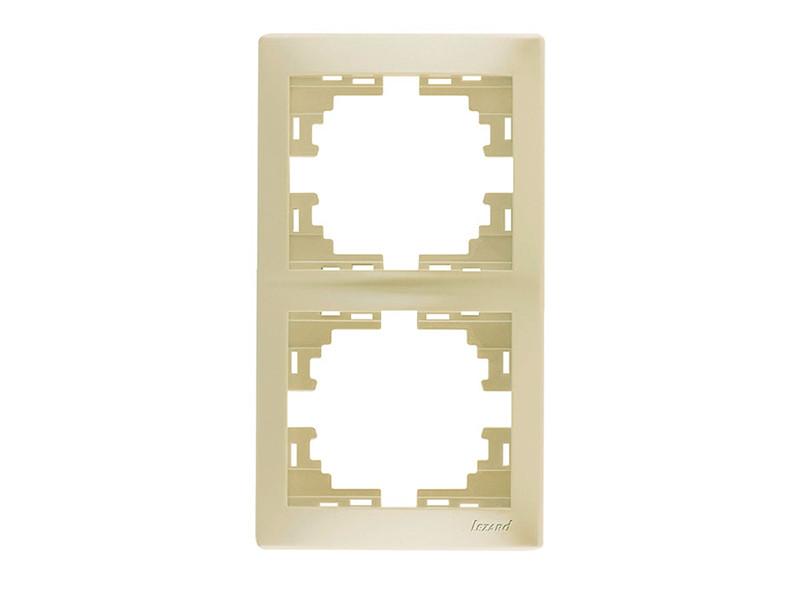 Рамка 2-ая вертикальная ТМ LEZARD серии Mira жемчужно-белый перламутр