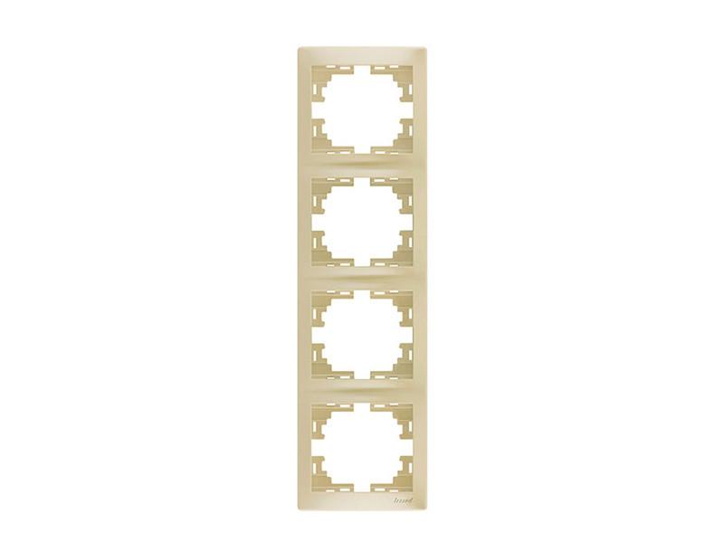 Рамка 4-ая вертикальная ТМ LEZARD серии Mira жемчужно-белый перламутр