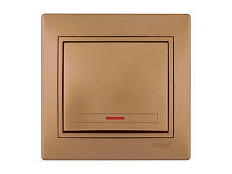 Выключатель с подсветкой ТМ LEZARD серии Mira светло-коричневый перламутр