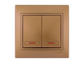 Выключатель двойной с подсветкой ТМ LEZARD серии Mira светло-коричневый перламутр