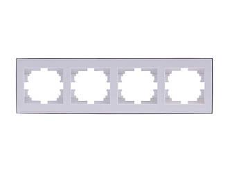 Рамка 4-а горизонтальна ТМ LEZARD серії Rain білий з хромом