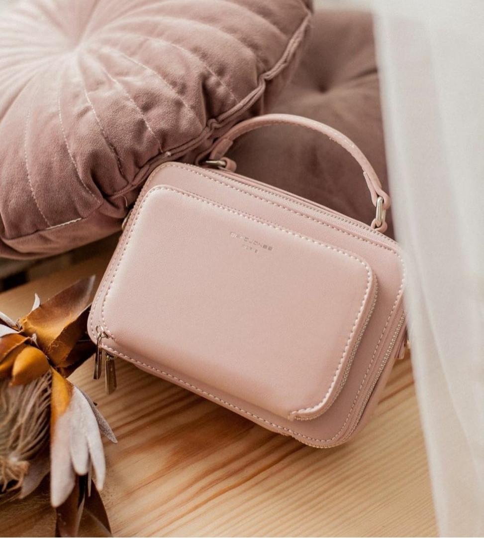 Небольшая сумка женская кроссбоди на два отделения David Jones, пудровая /  сумка жіноча шкіряна