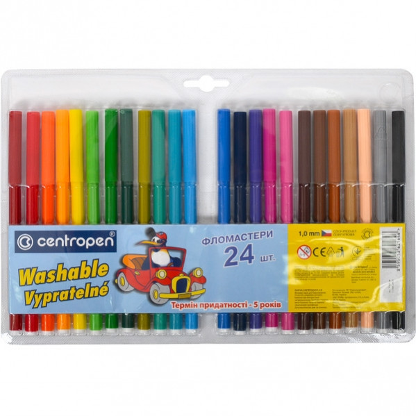 Фломастери Сentropen 24 кольорів, легко змиваються
