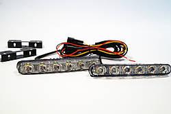 Фара LED прямоугольная 20вт (плоская) (6диода) (линза и фокус) + бегущим поворотником (Комплект)