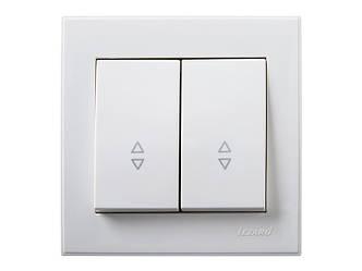Выключатель двойной проходной ТМ LEZARD серии Rain белый