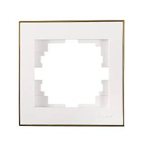 Рамка 1-а ТМ LEZARD серії Rain білий з золотом