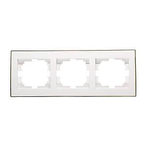 Рамка 3-а горизонтальна ТМ LEZARD серії Rain білий з золотом