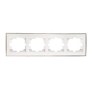 Рамка 4-а горизонтальна ТМ LEZARD серії Rain білий з золотом