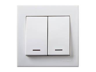 Выключатель двойной с подсветкой ТМ LEZARD серии Rain белый