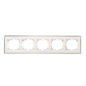 Рамка 5-а горизонтальна ТМ LEZARD серії Rain білий з золотом