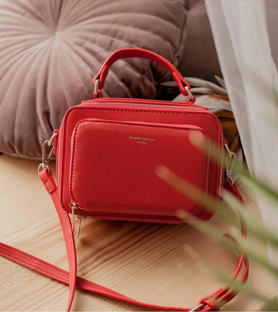 Небольшая женская сумка-клатч на два отделения David Jones, красная / сумка жіноча кроссбоди