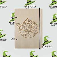 Деревянный блокнот А6 Спящяя лиса (светлое дерево), фото 1