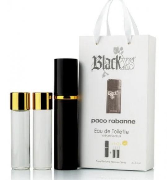 Мини-парфюм с феромонами мужской Paco Rabanne Black XS 3х15 мл
