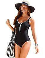 Цельный черный женский купальник большого размера