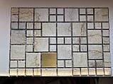 Декоративные Панели ПВХ Мозаика мрамор с золотом, фото 2