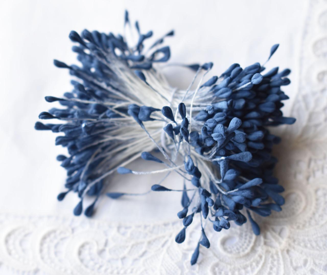 Тичинки для квітів Сині матові, 5см, 10 шт