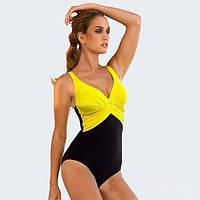 Слитный двухцветный купальник черно-желтого цвета