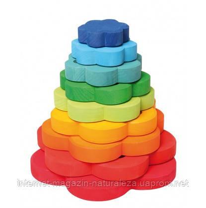 Пирамидка деревянная Grimms Цветочки