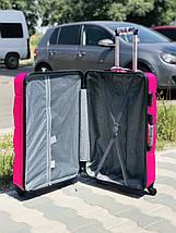Пластиковый чемодан из поликарбоната средний розового цвета Польша, фото 3