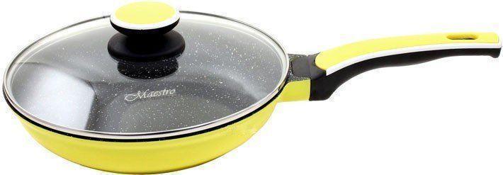 Сковорода с антипригарным покрытием с крышкой Maestro Ceramic MR-1220-22 желтая   сковородка Маэстро, Маестро