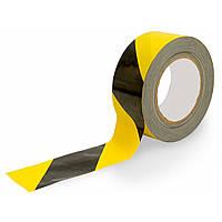 Лента сигнальная черно-желтая толщ-50мкм, шир.-72мм дл.-100м