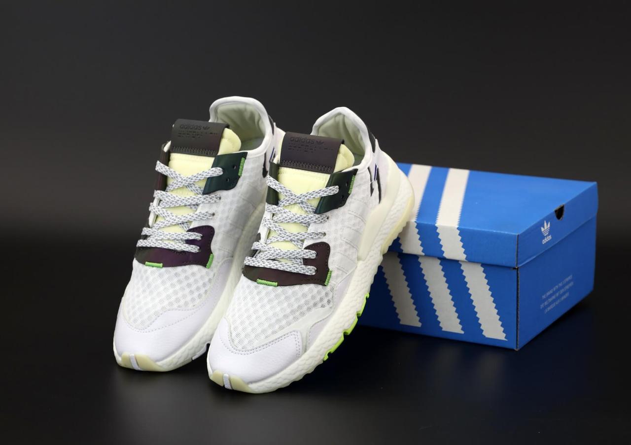 Мужские кроссовки Adidas Nite Jogger White Reflective (Адидас Найт Джоггеры белого цвета рефлективные)