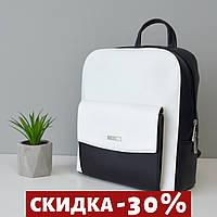 Рюкзак женский черный - белый, женский рюкзак летний на лето
