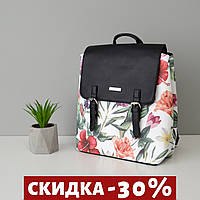 Рюкзак женский черный с цветочками, женский рюкзак летний на лето