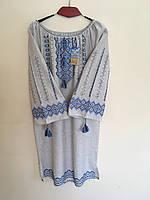 Сукня жіноча вишита ручної роботи на сірому льоні