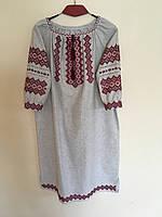 Сукня вишита ручної роботи на сірому льоні 50-52 розмір