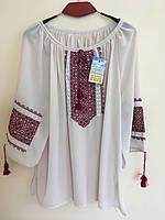 Шифонова вишита блуза тілесного кольору розмір 52