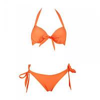 Пляжный оранжевый купальник с пуш-ап на завязках