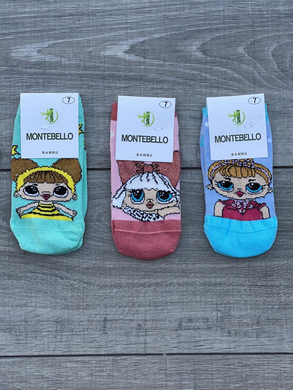 Дитячі бамбукові шкарпетки Montebello для дівчаток з ляльками ЛОЛ 1,3,5,7 років 12 шт в уп мікс 3х кольорів