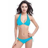 Пляжный купальник голубого цвета на завязках