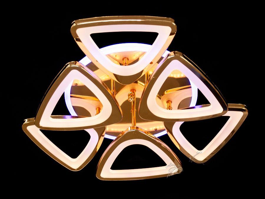 Потолочная Led люстра диодная с димером и подсветкой цвет хром 115W Diasha&S8118/3+3HR LED 3color dimmer