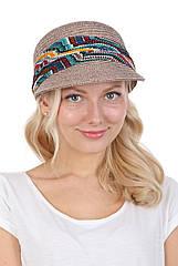 Кепка женская из соломы серая с разноцветной лентой
