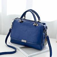 Синяя женская сумка с металлическими стразами