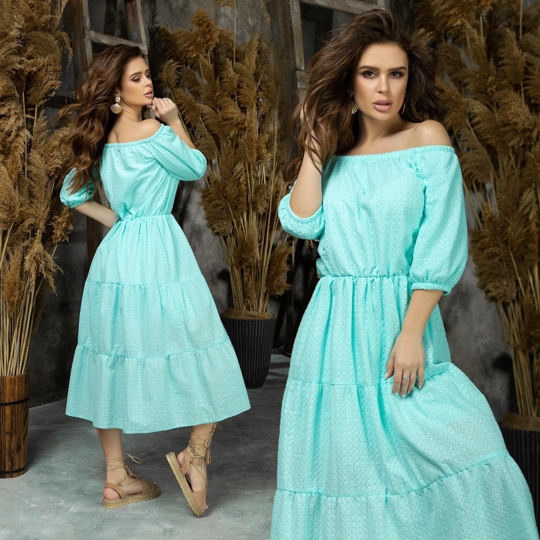 Приталенное женское платье с открытым декольте ниже колен 42-44, 46-48