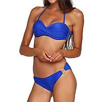 Пляжный раздельный купальник с пушапом синего цвета