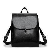 Каркасный рюкзак черного цвета для женщин из экокожи