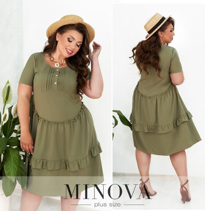 Легкое платье цвет оливкоый батал Размеры: 50.52.54.56