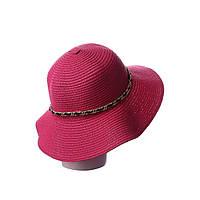 Малиновая женская шляпа из мягкой соломы