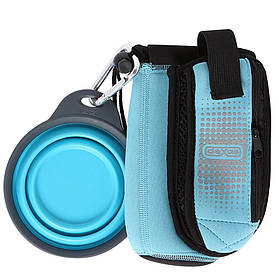 DEXAS Портативная сумка Боттл Покет со складной миской (голубой)