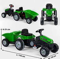Детский веломобиль - трактор «Pilson» 07-316 Green (с прицепом)