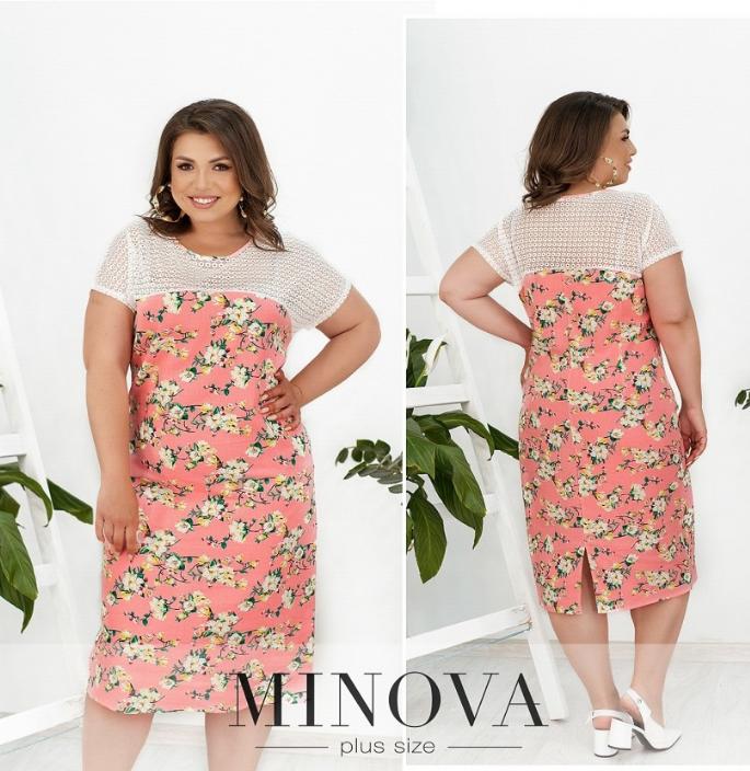 Льняное платье цвет розовый батал Размеры: 50-52, 54-56, 58-60, 62-64