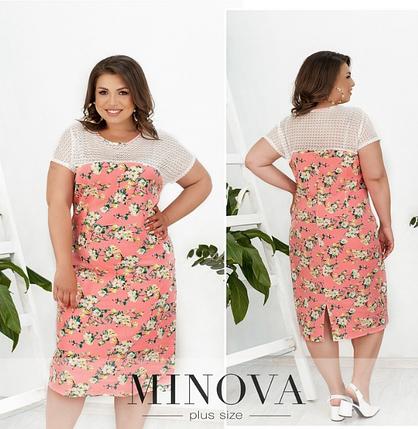 Льняное платье цвет розовый батал Размеры: 50-52, 54-56, 58-60, 62-64, фото 2